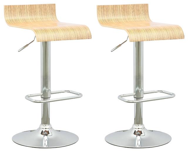Curved Seat Adjustable Barstool Light Bentwood Set Of 2