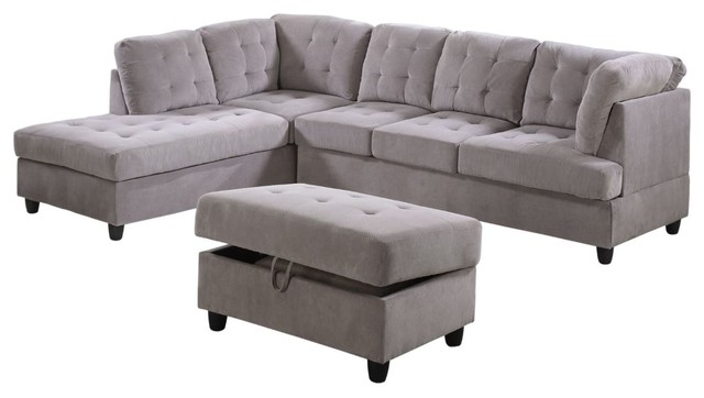 Corduroy L Shape Sectional Sofa with Ottoman, Dove Gray, Left Hand Facing  Chaise