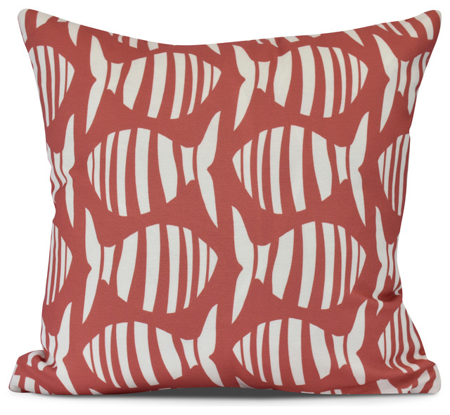 Wavy Fish Animal Print Outdoor Pillow Orange Beach Style Cushions And Pillows By E Design