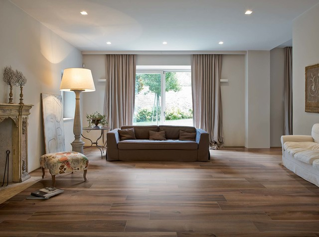 Affordable Ceramic Tile In A Traditional Living Room All Rooms Living Living Room