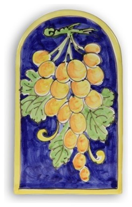 Italian Grapes Arch Plaque Mediterranean Outdoor Wall Art by