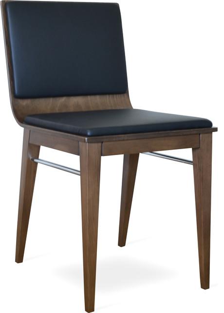 Corona Wood Dining Chair, Beech Walnut Finish, Black Leatherette, Extra Pad  Contemporary
