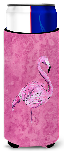 Flamingo On Pink Ultra Beverage Insulators, Slim Cans.