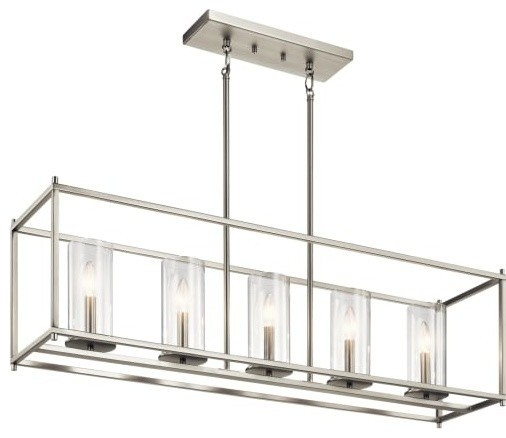 "Kichler 43995 Crosby 5 Light 41"" Linear Chandelier, Brushed Nickel"