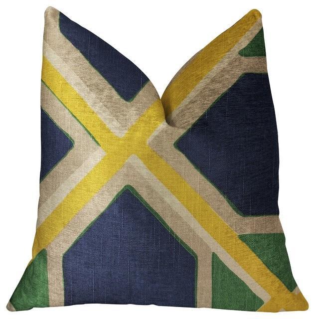 "Obliquity Blue, Yellow And Green Luxury Throw Pillow, 26""x26""."