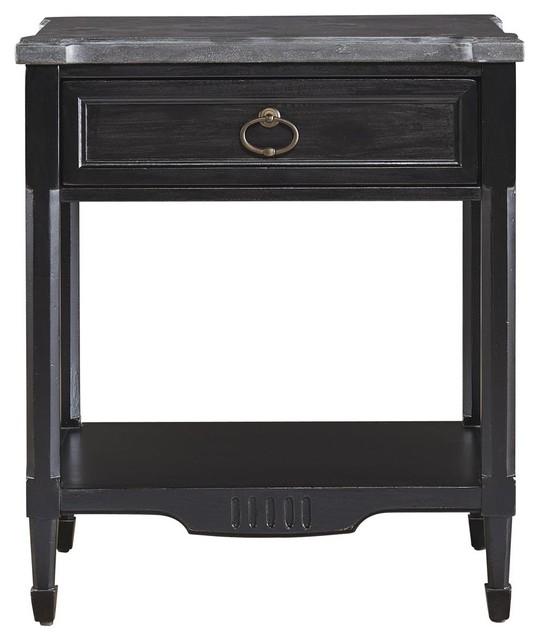 french louis xvi black 1 drawer bluestone top nightstand traditional