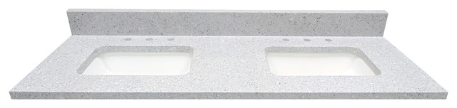"61"" X 22""  Double Bowl Infinity Quartz Vanity Top, Flint."