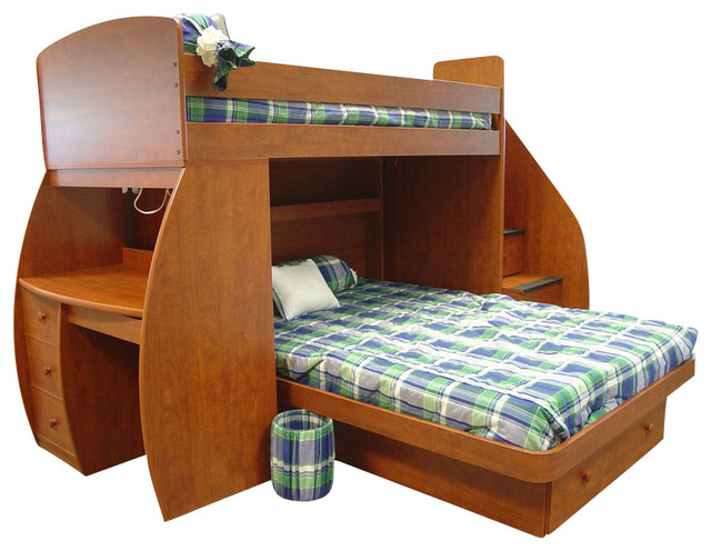 Berg Furniture Sierra E Saver Twin Over Full Bunk Bed With Desk And Stairs Transitional Kids Beds Other By Homesquare