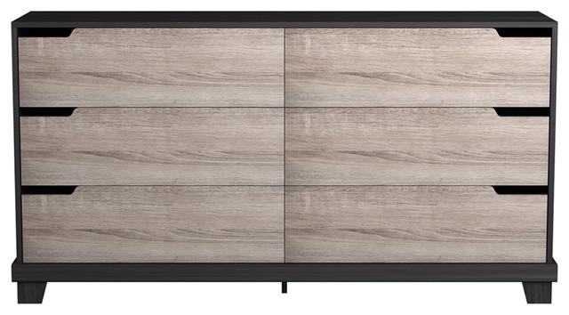 Leigh 6-Drawer Dresser, Ash And Espresso.