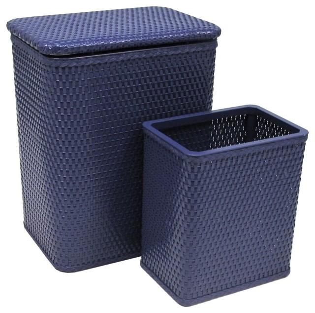 Chelsea Pattern Wicker Nursery Hamper And Matching Wastebasket Set, Coastal Blue.