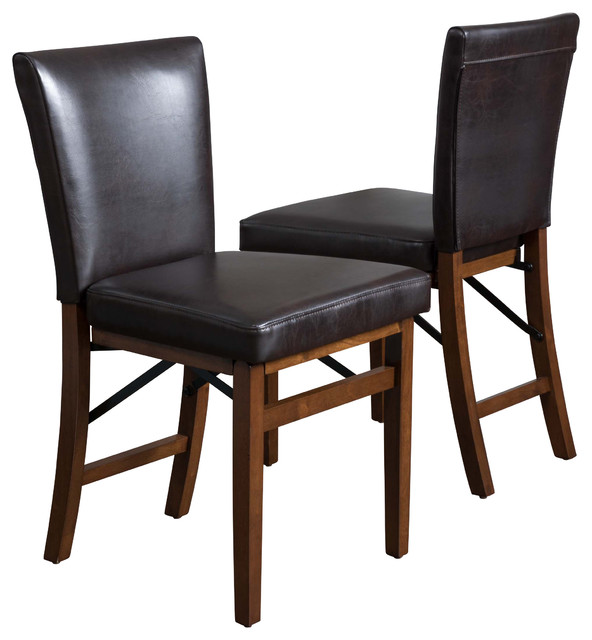 Genial Rosalynn Brown Leather Folding Dining Chairs, Set Of 2