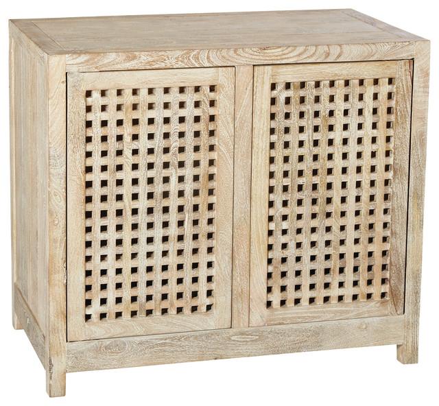 Global Views Driftwood Lattice 2 Door Cabinet