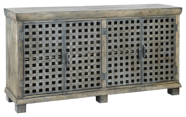 Crestview Bengal Manor Metal Lattice Work And Mango Wood Sideboard  Industrial Buffets And