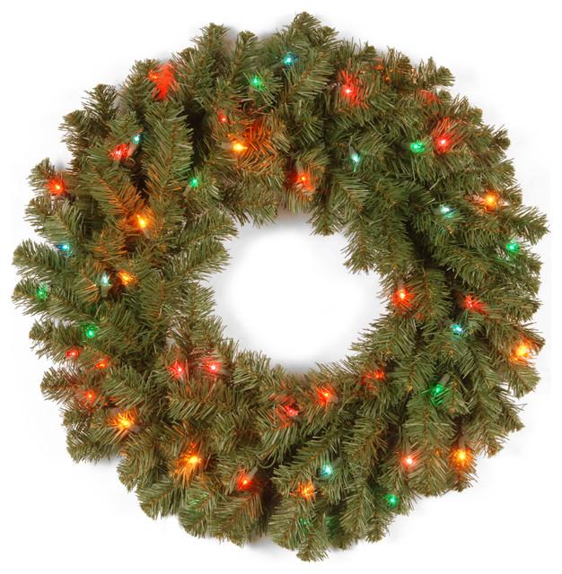 """24"""" Kincaid Spruce Wreath With Multicolor Lights."""