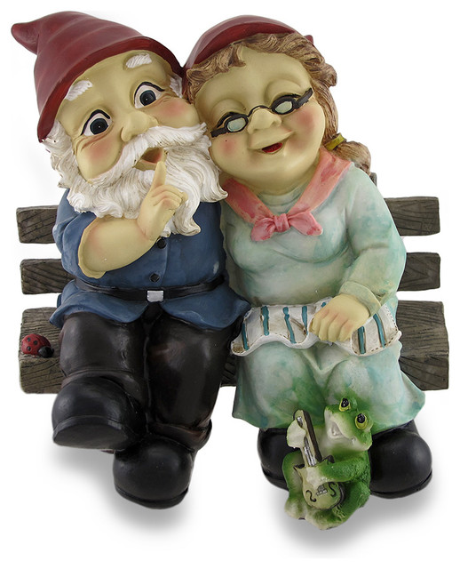 Mr And Mrs Gnome Couple Happily Sitting On A Bench
