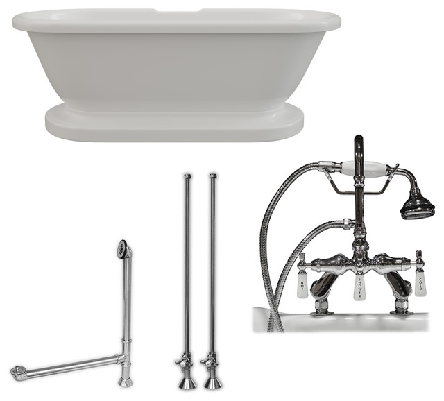 Acrylic Double Ended Pedestal Bathtub 70x30, 7 Drillings PC Package by Cambridge Plumbing