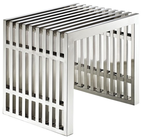 Contemporary Modern Bench, Stainless Steel