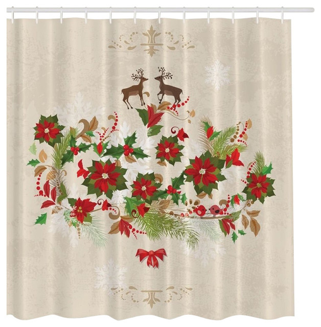 Elegant Poinsettia Holly Reindeer Fabric Shower Curtain Beige Red And Green Traditional