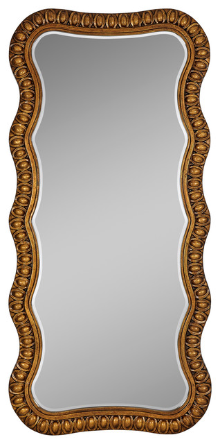 Traditional Antique Bronze Wavy Long Beveled Glass Framed Mirror