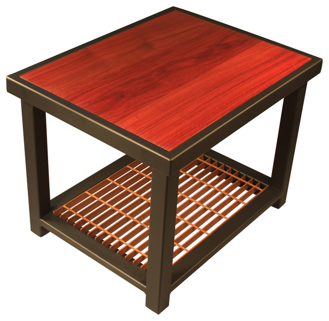 Padauk Storm Grate End Table Transitional Side Tables And End Tables