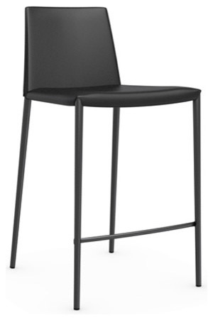 Boheme Leather Counter Stool Black Modern Bar Stools And