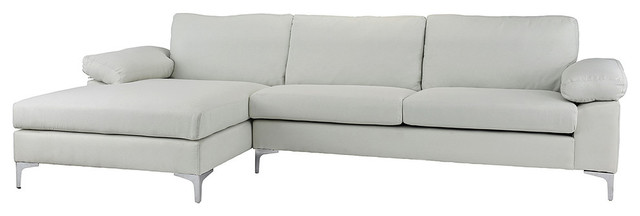 Modern Large Linen Fabric Sectional Sofa With Extra Wide Chaise, Beige