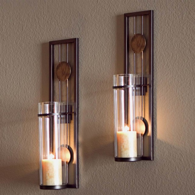 Metal Wall Sconces contemporary metal wall sconces, set of 2 - transitional