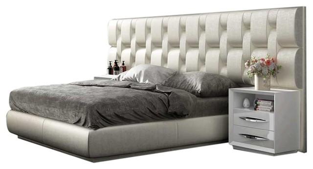 Emporio 3-Piece Modern Bedroom Set, White High Gloss, Queen