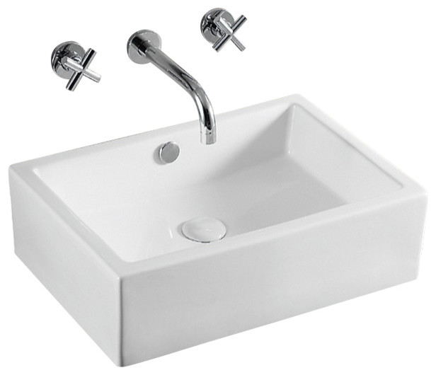 Rectangular White Ceramic Vessel Bathroom Sink, No Hole