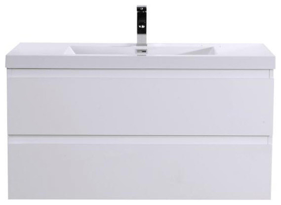 "MOB 42"" Wall Mounted Vanity With Reinforced Acrylic Sink, High Gloss White"