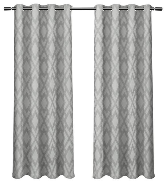Easton Jacquard Blackout Liner Grommet Curtains Steel Blue 54 X84