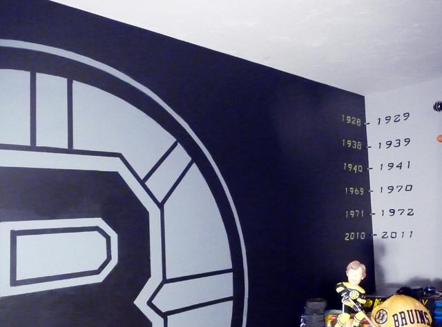 Boston Bruins Mural, Boy's Hockey Theme Room
