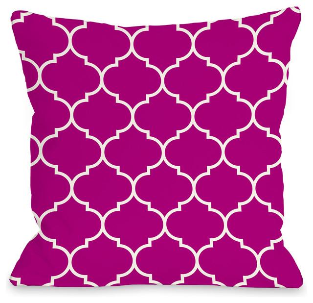 """Repeating Moroccan"" Indoor Throw Pillow by OneBellaCasa, Magenta, 18""x18"""