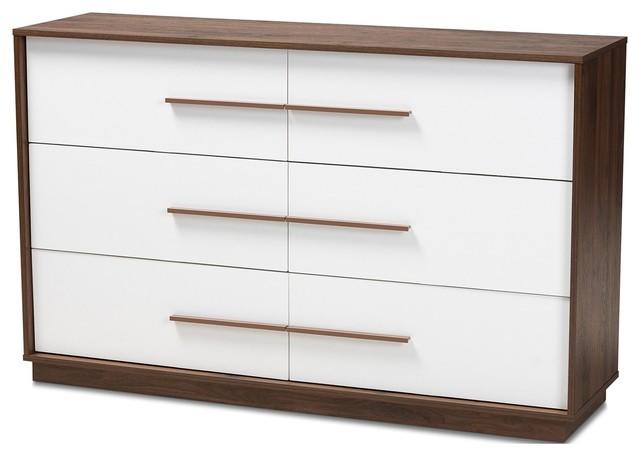 Baxton Studio Mette White and Walnut 6-Drawer Wood Dresser