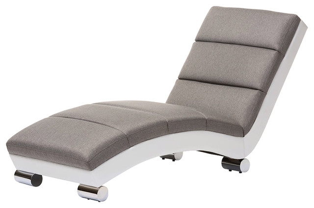 Percy Modern And Contemporary Faux Leather Chaise Lounge, Gray, White.