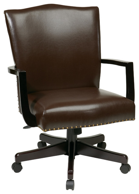 Morgan Managers Chair With Thick Padded Bonded Leather Seat, Espresso.