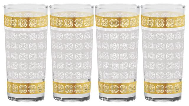 Culver Gold 22k Expressive Pattern 15-Ounce Cooler Glass, Set of 4