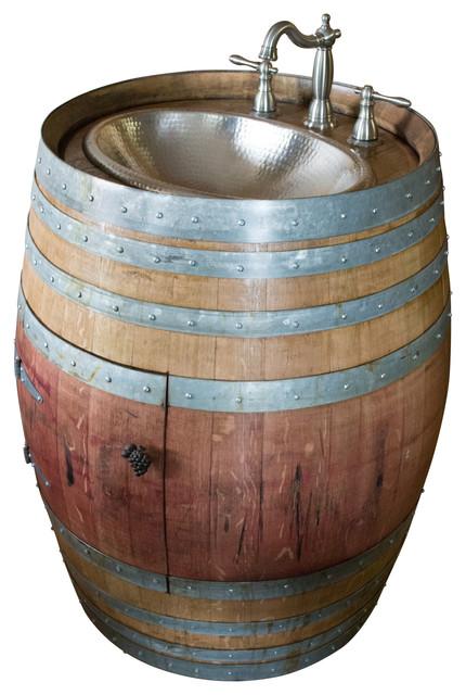 Natural Wine Barrel Vanity With Hammered Nickel Sink.