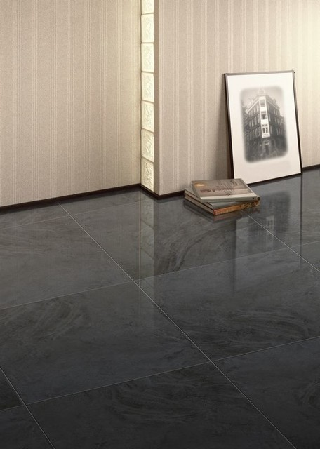 Charcoal Stone Look Gloss Lappato Main Floor Traditional