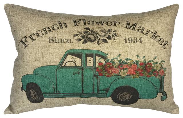 Floral Truck Linen Pillow.