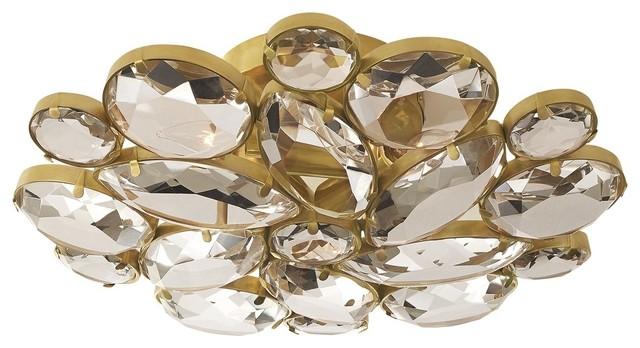 Visual Comfort Lighting Lloyd Medium Round Flush Mount, Soft Brass.