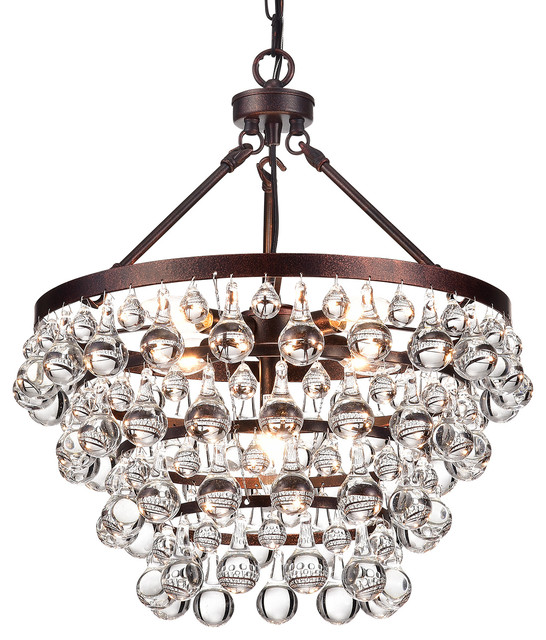 Finnelle 5-Light Crystal Chandelier, Antique Copper - Finnelle 5-Light Crystal Chandelier, Antique Copper - Contemporary