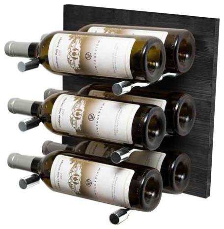 Metal And Wood Wine Rack Panel, Midnight Black Grain, Milled Aluminum Rods, 6 Bo.