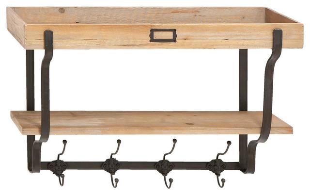 Wood And Metal Wall Shelves wood and metal wall shelf - modern - display and wall shelves -