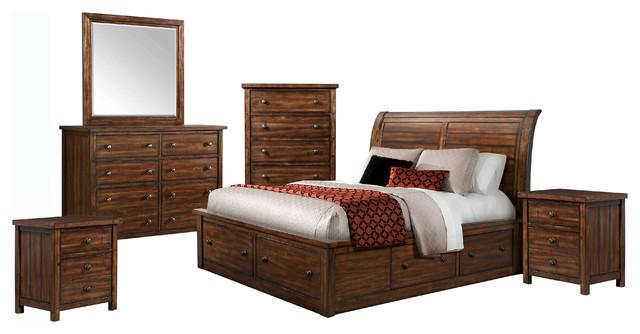 Sidney Chestnut Bedroom Furniture, King, 6-Piece Set.