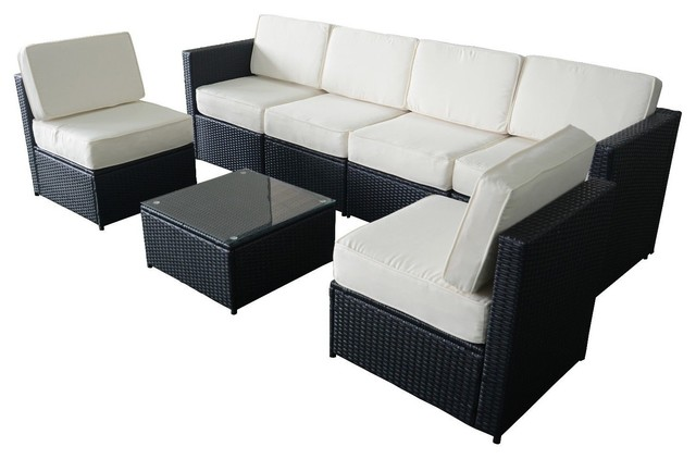 7 Piece Wicker Patio Sectional Furniture Set, Black Modern Outdoor Lounge