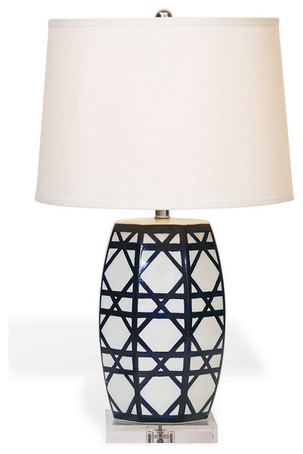 Contemporary Blue White Lattice Porcelain Gazebo Lamp Eclectic