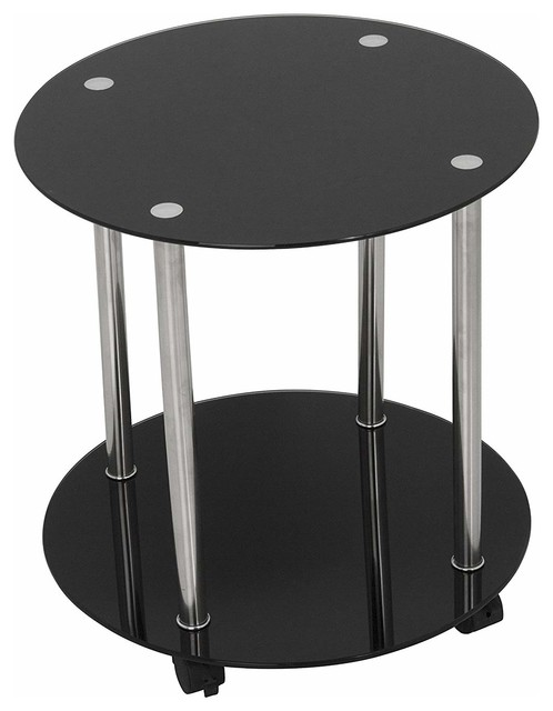 Modern Round Side Table Tempered Gl With Lower Shelf And Lockable Casters Tables End By Decor Love