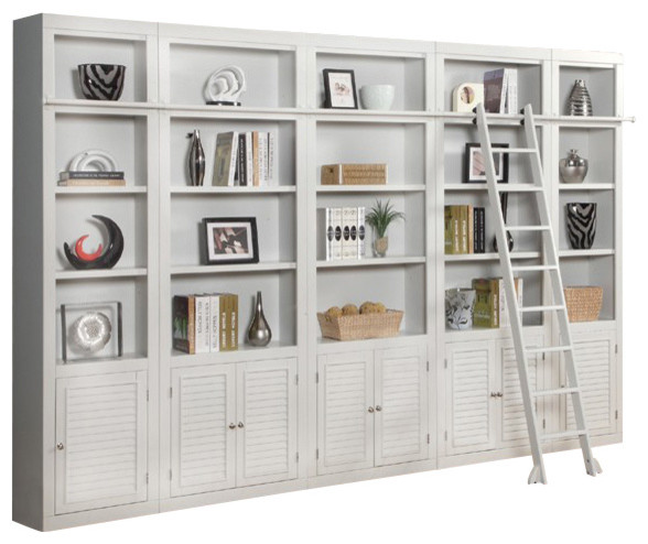 Boca 5 Piece Library Wall Unit Beach Style Bookcases