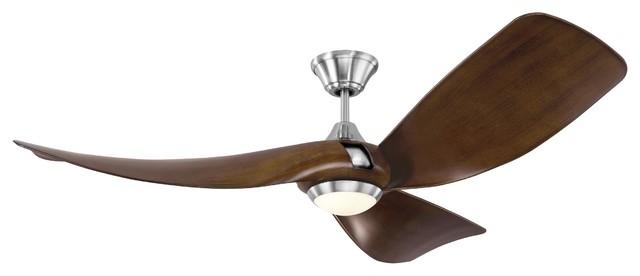 """Monte Carlo 56"""" Melody Brushed Steel Ceiling Fan."""